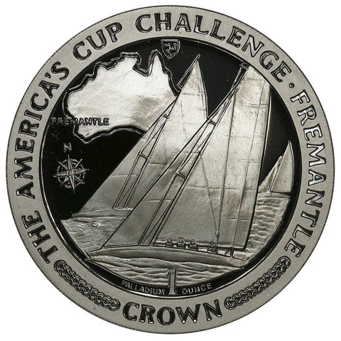 1987 Isle of Man America's Cup One Ounce Palladium Crown - Gem Proof