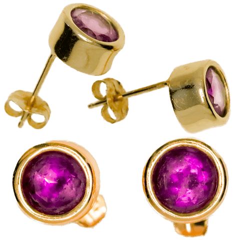 14K Gold Set Faceted Amethyst Earrings - 1 CTW