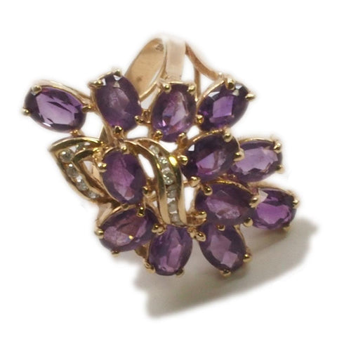 14K Gold Amethyst Diamond Cocktail Ring