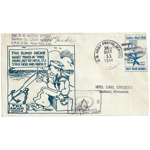 May 11, 1944 The Anchor Watch Patriotic Cover, APO 34 Omagh Ireland