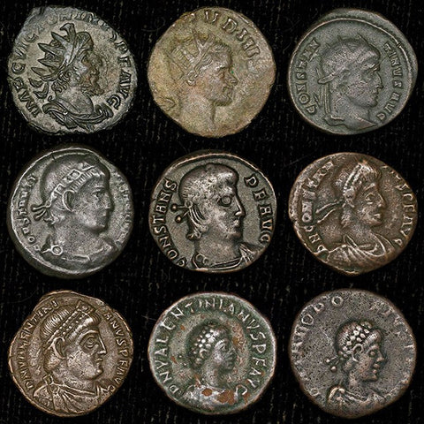 Nine Different Ancient Roman Bronze Coins in VF to XF