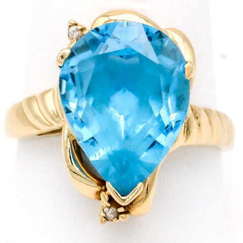 Magnificent 14K Gold Vibrant Pear Shaped 11.5 Carat Blue Topaz Ring - Size 10