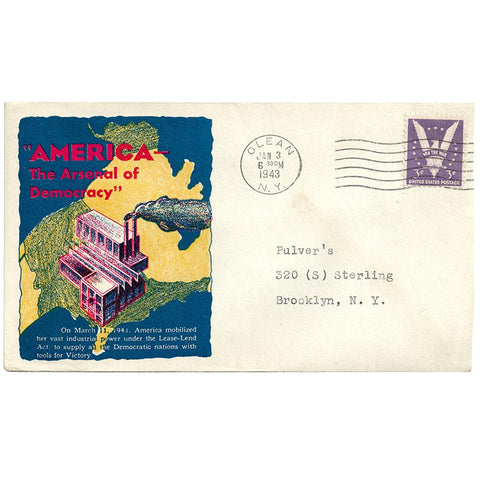 Jan 3, 1943 America The Arsenal of Democracy Patriotic Cover Olean, NY Cancel