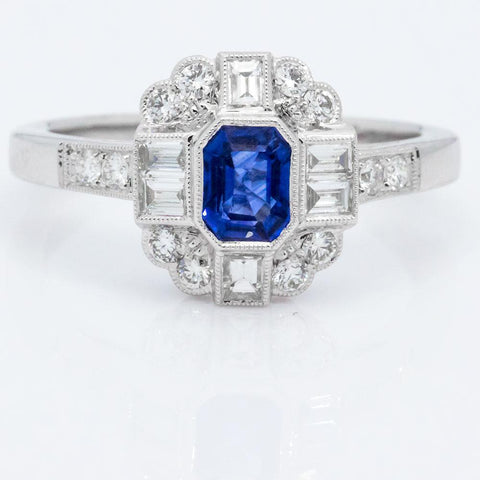 Spectacular 14K White Gold Diamond & Natural Sapphire Ring, Size 6 1/2