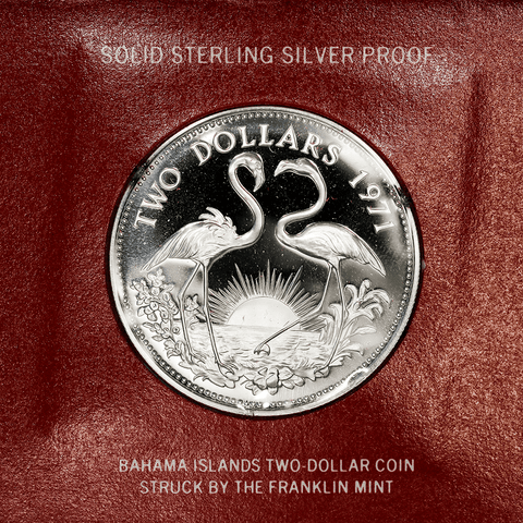 1971 Bahamas Proof Sterling Silver $2 Flamingos KM.23 - Gem Proof