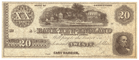 18__ $20 Bank of New England, East Haddam Remainder 110-G26a - Gem Crisp Uncirculated