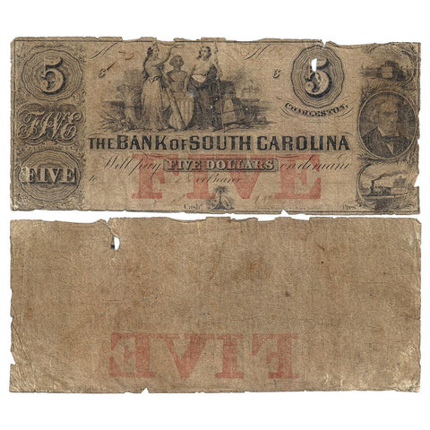 1857-60 $5 Bank of South Carolina, Charleston, G34a - Good