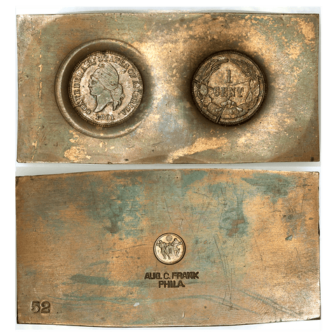 Restrike 1861 (1961) Confederate Cent Die Impressions Bashlow Copper Bar Paperweight