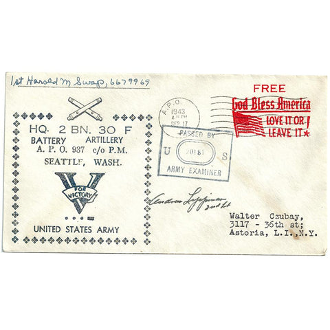 Sept 17, 1943 Battery Artillery Seattle WA Patriotic Cover Censored (To Czubay)