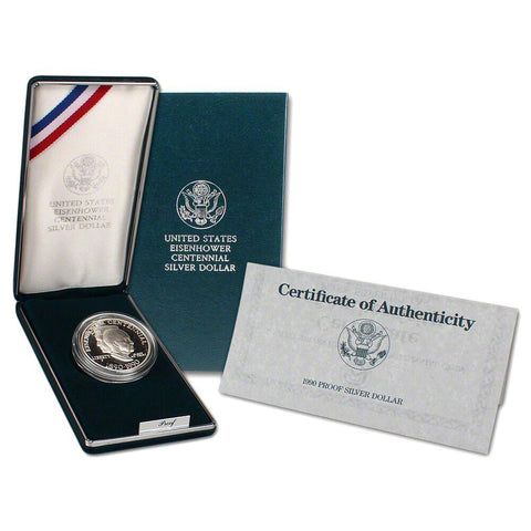1990 Eisenhower Centennial Commemorative Proof Dollar w/OGP & COA
