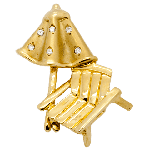 14K Gold & Diamond Beach Umbrella & Chair Charm/Pendant