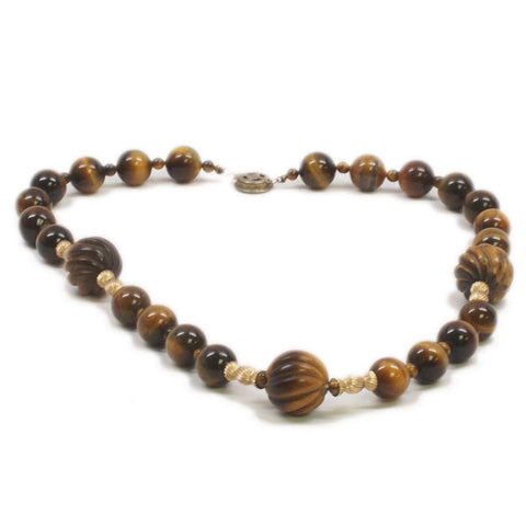 Sterling Silver Tigers Eye Beaded Necklace