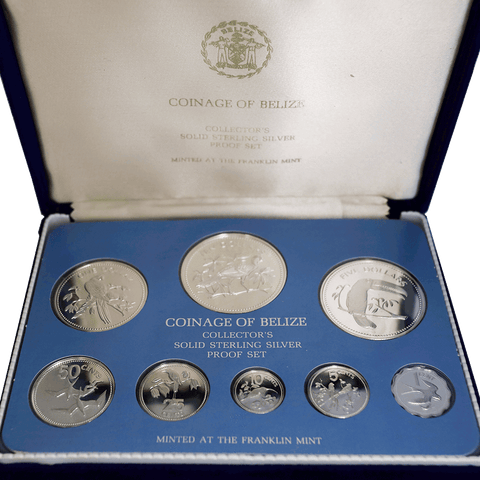 1975 Belize 8-Coin Silver Proof Set (Over 3.0 toz ASW) - Gem Proof in OGP w/ All Papers