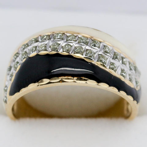 14K Gold Black & White Enamel Diamond Ring, Size 7