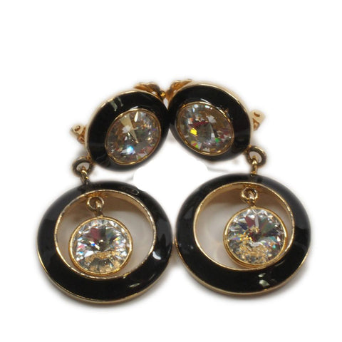 Vintage Bijoux Designs Black Enamel Rhinestone Clip on Costume Earrings