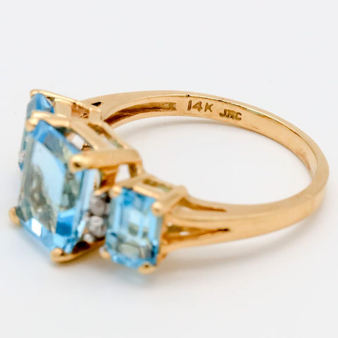 14K Gold 3 Stone Emerald Cut Blue Topaz & Diamond Ring 4.7 CTW - Size 6