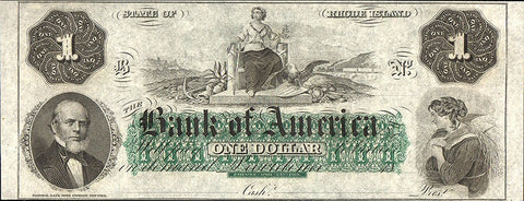 1860s $1 Bank of America State of Rhode Island Remainder Notes