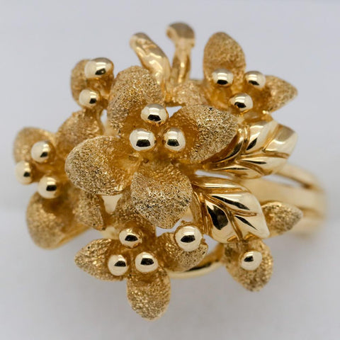 14K Gold Bouquet of Flowers Ring, Size 5 1/4