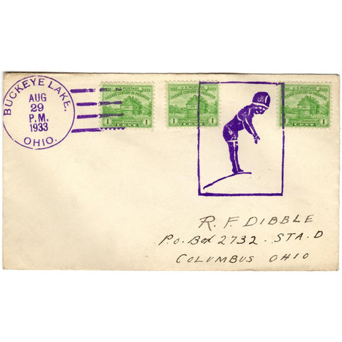Aug 29, 1933 Buckeye Lake, Ohio Diver Fancy Cancel