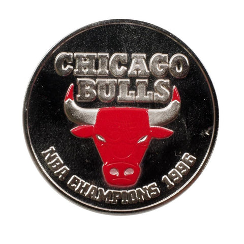 1996 Chicago Bulls 1oz Silver Medallion w/ Red-Colored Face