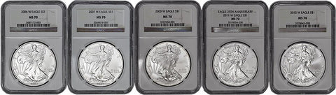 2006-W to 2012-W Burnished Silver Eagles - 5 Coin Set - NGC MS 69 or NGC MS 70