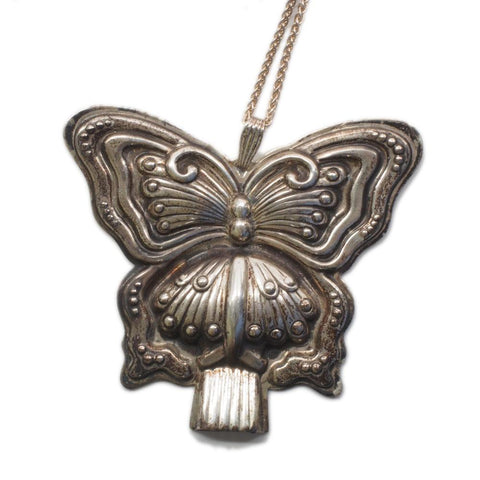 Reed & Barton Sterling Silver Butterfly Whistle Pendant w/ Chain