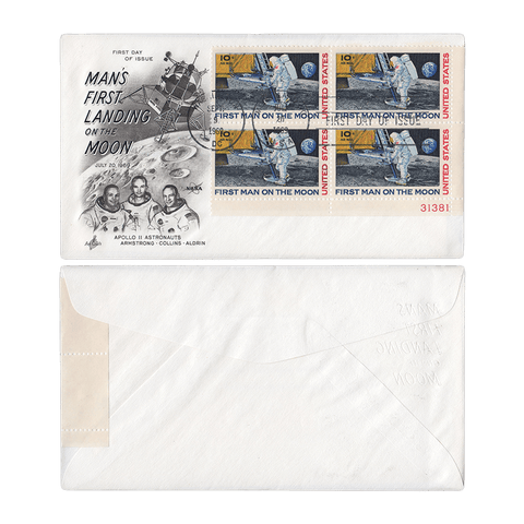 First Day of Issue September 9, 1969 10c Moon Landing First Day Cover - Plate Block Scott C76