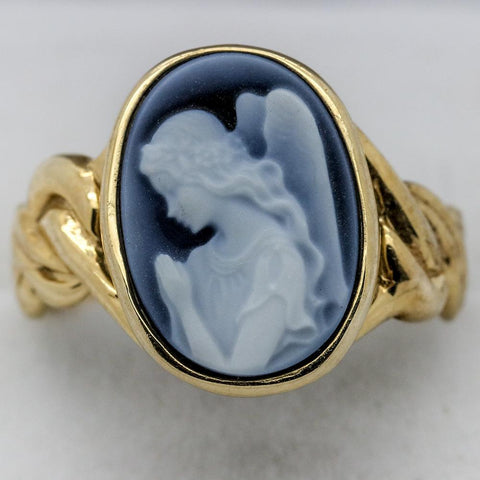 14K Gold Praying Angel Blue Cameo Ring - Size 7