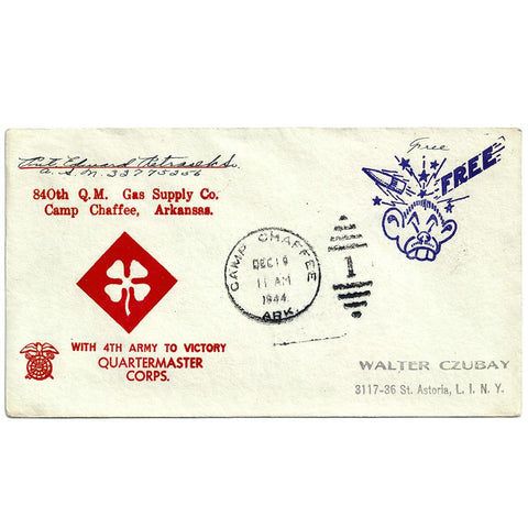 Dec. 19, 1944 Quartermaster Corps Camp Chaffee CDS Patriotic Cover (to Czubay)