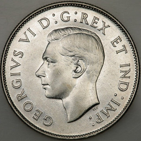 1947 Curved 7 Canada 50 Cent Silver KM.36 - Uncirculated