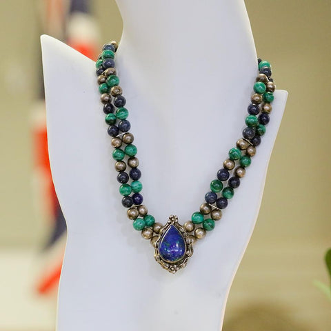 Vintage Carol Felley Sterling Silver Lapis Lazuli & Malachite Necklace- 16""