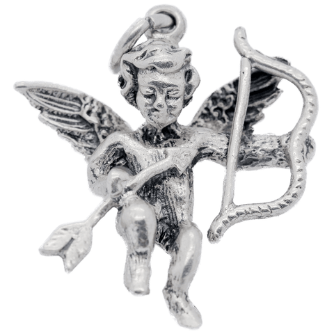 Vintage Sterling Silver Winged Cupid with Bow & Arrow Charm