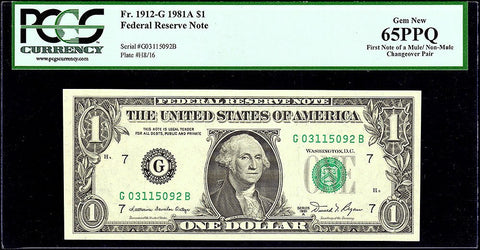 Mule/Non-mule Changeover Pair Fr. 1912-G $1 1981-A Federal Reserve Notes. PCGS Gem New 65PPQ.