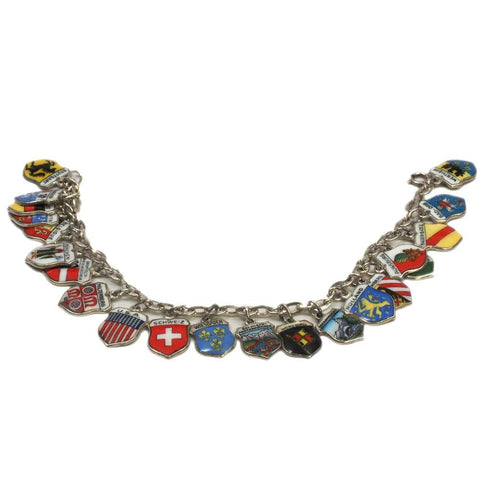 Loaded Silver Estate Travel Shield Charm Bracelet