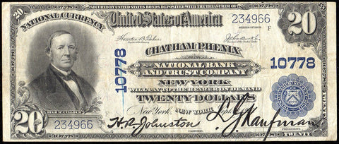 1902 Plain Back $20 Chatham Phenix National Bank & Trust, NY Charter 10778 ~ Very Fine