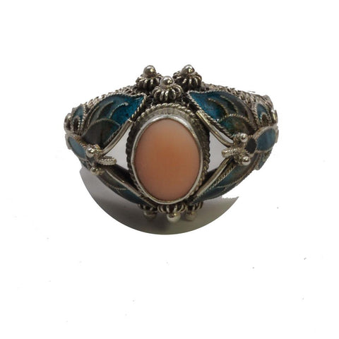 Vintage Sterling Silver Chinese Enamel Filigree Ring
