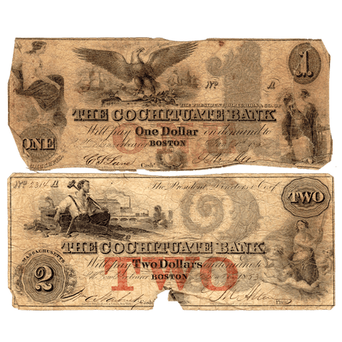 Pair of 1850s $1 & $2 Cochituate Bank of Boston, MA Broken Bank Notes