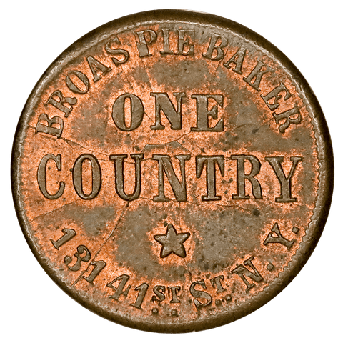 1863 Broas Brothers Pie Bakers Civil War Token Fuld-NY-630M-9a (R5) - Choice Uncirculated