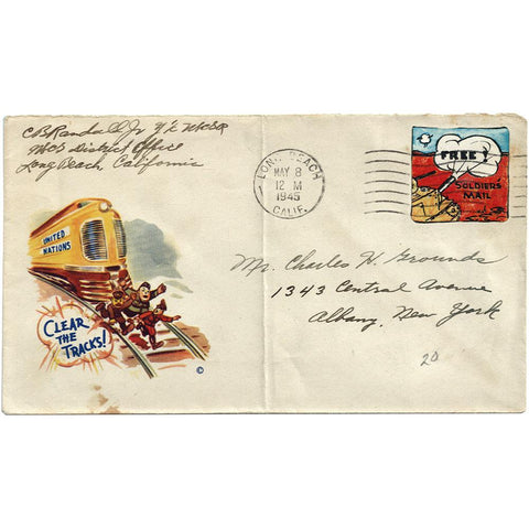 May 8, 1945 (VE) Clear The Tracks Patriotic Cover Private Printed Stamp