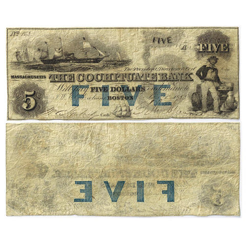 1853 Cochituate Bank $5 with Blue Overprint Boston, Massachusetts MA-130 - Fine