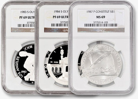 10 All-Different Modern (1983-2010) Commemorative Silver Dollars - NGC 69