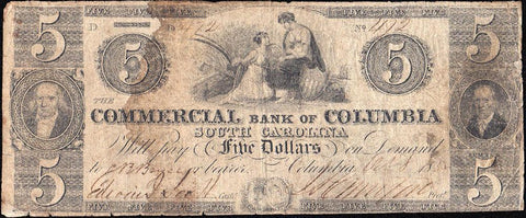1855 $5 Commercial Bank of Columbia South Carolina - Good/Very Good