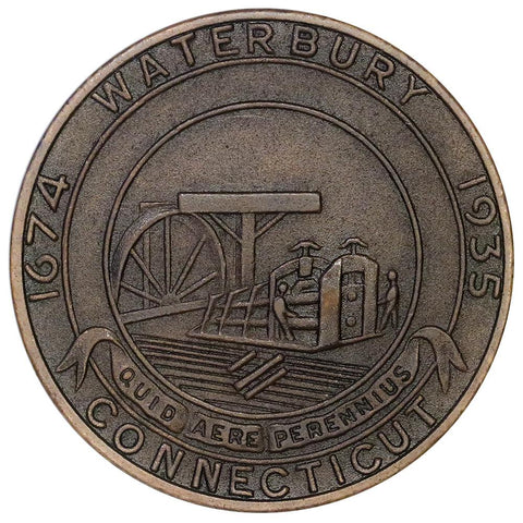 1935 Connecticut Tercentenary Bronze Medal 32mm - Brown Uncirculated