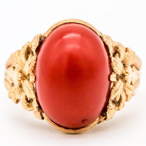 Antique 18K Gold Natural Oxblood Red Coral Ring - Size 6 1/2