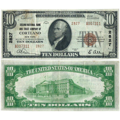 1929 T.2 $10 2nd National Bank & Trust Co. of Cortland, NY Charter 2827 ~ Very Fine