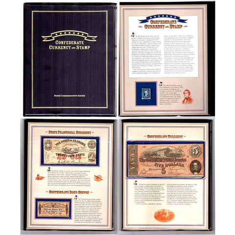Postal Commemorative Society - Confederate Currency & Stamp Set with Scott #11, AL-Cr. 5, & T-69