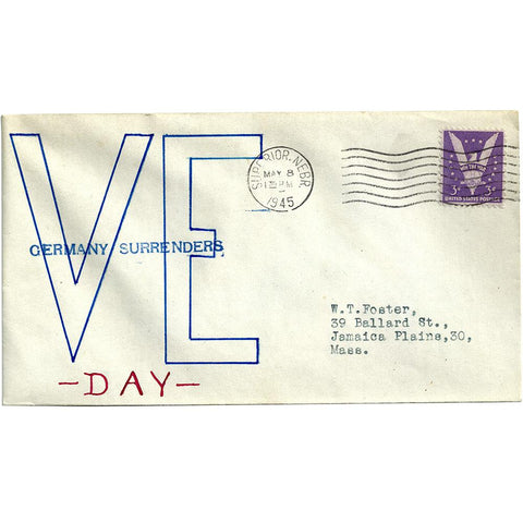 May 8, 1945 Handmade V-E Day Cache Patriotic Cover