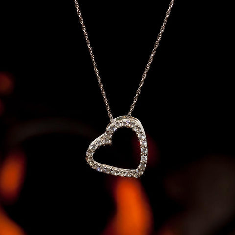 "14K White Gold CZ Heart Necklace on 18"" 14K White Gold Chain"