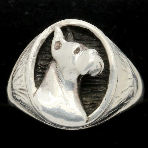 Gentleman's Sterling Silver Great Dane or Boxer Dog Ring - Size 11