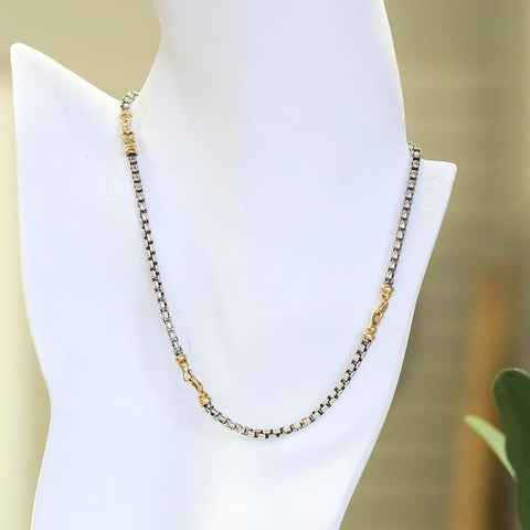 "David Yurman Sterling Silver & 18K Gold 16"" Chain Necklace"